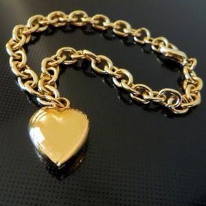 VTG gold heart charm bracelet